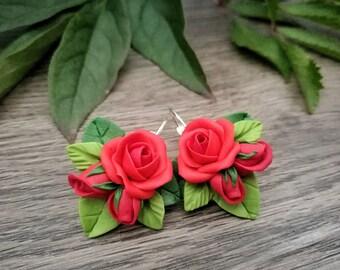 Red roses earrings,romantic earrings,red earrings