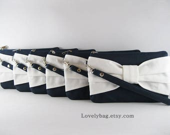 SUPER SALE - Set of 6 Black with Ivory Bow Clutches - Bridal Clutches, Bridesmaid Clutch, Bridesmaid Wristlet, Wedding Gift - Made To Order
