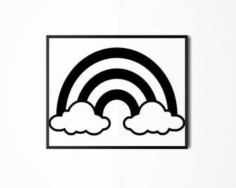 Black and White Rainbow and Clouds Nursery Print, Art for Kids, Children's Printable Art, Baby Nursery Wall Print