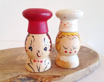 Vintage Wood Kitschy Chef Salt and Pepper Shakers Mid Century Kitsch Decor