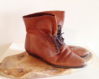 Vintage 1980s Slouchy Lace Up Ankle Boots Ladies Size 10