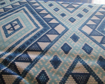 Quilting Weight Cotton Fabric Moroccan Tiles in Turquoise by Michael Miller 1 yard