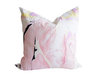 "24"" Marbled Linen Throw Pillow, Sweet Dreams with Down Insert"