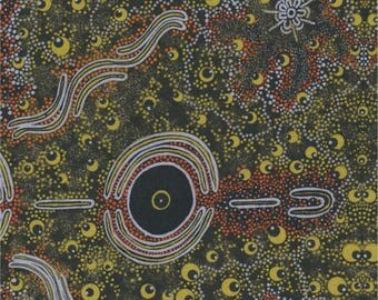 M & S Textiles, Australian Aboriginal Fabric, Dreamtime Knowledge, Green, 100% cotton
