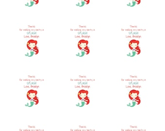 MERMAID / 12 customizable stickers / Little Mermaid or Under the Sea Party / Mermaid Stickers / Sticker Labels / Favor Tags / Thank you tags