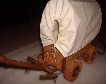 Unique Vintage Wooden Covered Wagon Desk Lamp / Accent Lamp