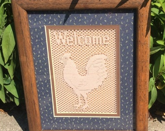 Vintage lace chicken welcome framed picture