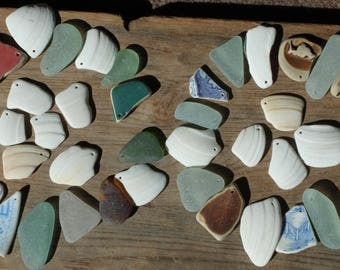 seashells sea glass seaglass beach pottery top drilled jewelry supplies arts and crafts jewellery home decor (lt656)