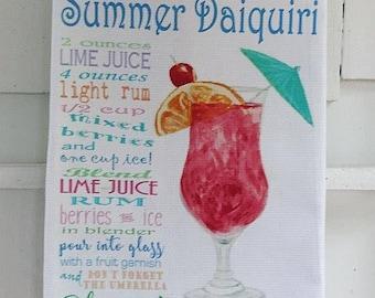 Strawberry Daiquiri Drink Recipe Cotton Huck Kitchen Towel, 18x33