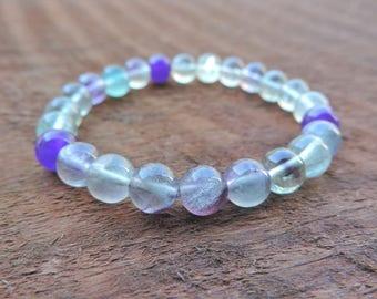 Fluorite Crystal Bracelet, Healing Crystal Bracelet, Protection Bracelet, Yoga Bracelet, Boho Bracelet, Gemstone Bracelet