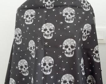 Black skulls cotton fabric