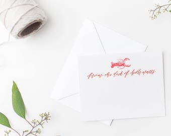 lobster stationery - custom stationery notecard with calligraphy and watercolor - custom watercolor notecard - custom calligraphy notecard