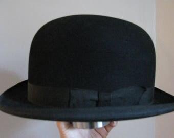 Vintage Bowler Hat, Black Derby Hat, Mans Derby Wool Hat, Black Felt Hat, Vintage Bowler Hat