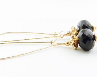 Black Spinal Gold Fill  Earring