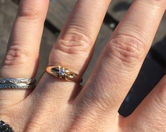 14K Diamond Belcher Yellow Gold Victorian Ring low profile engagement