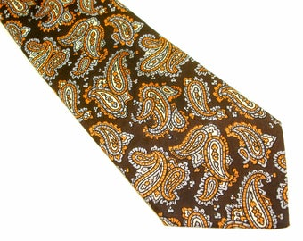1970s Macy's Paisley Tie Mad Men Era Mens Vintage Italian Imported Acetate Necktie with Printed Paisley Designs from Macy's Men's Store