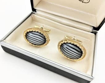 1950s-60s Glass Cufflinks Mens Vintage Gold Tone Cufflink Set with Black & White Oval Ribbon Glass Stones