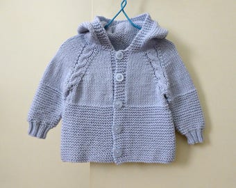 Hand knit baby hoodie, baby boy hooded jacket, knitted baby sweater, knitted baby clothes, knit cardigan blue, handmade gift, shower gift