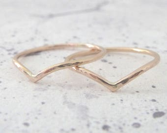 9ct Rose Gold Ring - Holly Wishbone - 1.2mm - Slim Wishbone Ring - 9ct Rose Gold - Thin Rose Gold Ring