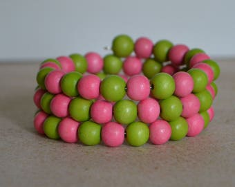 Pink and Green Wrap Bracelet