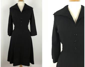 Vintage 1940s Dress - 40s Black Wool Crepe Tea Dress - Shirtwaist Dress - Winged Collar - Wartime wwII Era - Medium - UK 12 / US 8 / EU 40