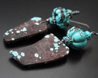 Natural raw genuine turquoise earrings turquoise melon bead earrings oxidized sterling earrings long boho tribal earrings statement earrings