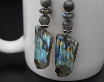 Long labradorite earrings, flash labradorite nugget slice earrings, oxidized sterling earrings , boho party statement earrings, gift for her