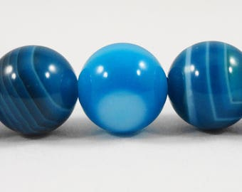 """Blue Striped Agate Beads, 10mm Round Stone Beads, Dyed Blue Gemstone Beads, 10mm Agate Gemstone Beads on a 7 1/2"""" Strand with 19 Beads"""