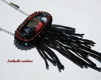 """Embroidered necklace beads antique """"Charleston"""""""