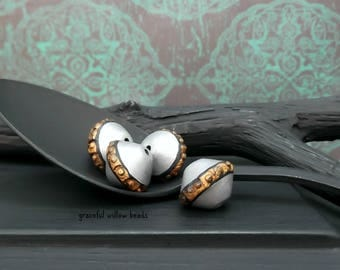 Vintage Style Polymer Bicone Bead - Antique Silver Finish Black Bronze - Handmade Bohemian Bead - 13mm - Pkg. 4