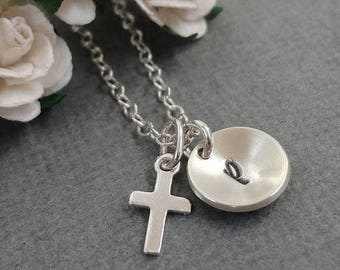 SALE - Sterling Silver Tiny Cross Necklace - Tiny Cup Initial Necklace - Hand Stamped Initial Necklace - Personalized Jewelry