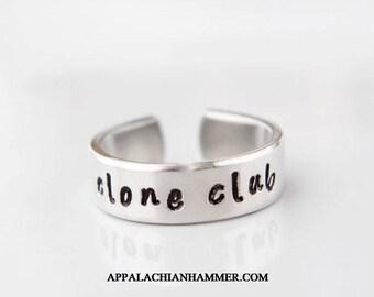 Clone Club Hand Stamped Aluminum adjustable Ring
