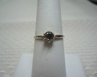 Round Cut Grey Diamond Ring in 14K White Gold  #2027
