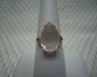 Pear Cut Rose Quartz and Sapphire Ring in Sterling Silver  #2125
