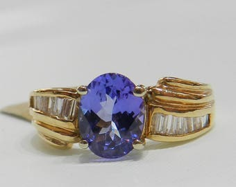 18K Tanzanite Engagement Ring 18K Vintage Tanzanite Diamond Ring 2 Ct Tanzanite 18K Gold Genuine Diamond December Birthday Gift
