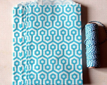 """Party Favor Bag, Honeycomb Paper Favor Bags, Blue and White Paper Favor Bags  5"""" x 7.5"""""""