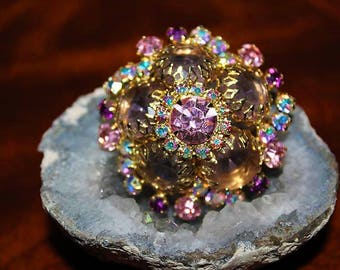 SCHREINER  Designer Couture High End Unsigned Dome Pink AB Crystals Brooch BD28