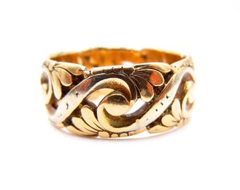 Wide Gold Band - Solid 14k Yellow Gold Wide Band - Leaf Design Wide Band - Size 8 - Weight 7.2 Grams - Anniversary - Wedding - Ring # 4419