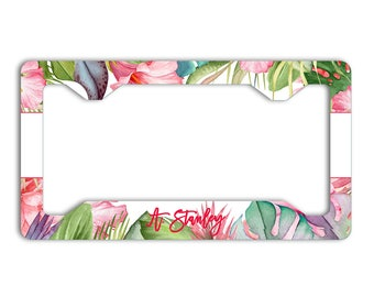 Monogrammed tropical pink license plate frame, Pink car tag cover, Present For Her, Car frame with name, Pink auto accessories (1804)