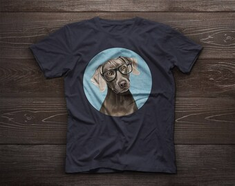 Weimaraner t-shirt, weimaraner tshirt tee, pet tshirt, dog tee, glasses, Weimaraner Vorstehhund, Weim, Grey Ghost, hunt, hunting dog