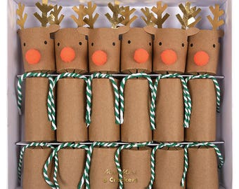 Christmas crackers, christmas decorations, christmas table decorations, rudolf christmas party crackers, christmas dinner entertainment