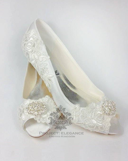 Nellie   Ivory Vintage Lace Peep Toe Low Heel Shoes 1 2 3 4 Inch Mid Kitten  Heel Very Low Lace Wedding Shoes, Low Heel Wedding Shoes