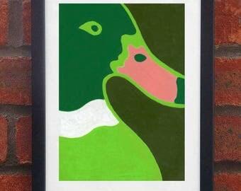 Duck - A5 orignina oil pastel drawing (Framed)
