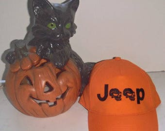 Jeep HAT JH1 - Custom EMBROIDERED in CrushProof Box -  SKULLS  for  jeep lovers Orange