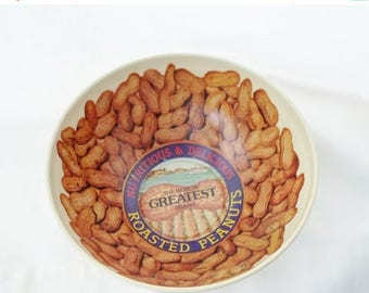 ON SALE Vintage World's Greatest Brand Roasted Peanuts, Tin, Snack, Bowl, Made by Cheinco USA, Gold, Litho
