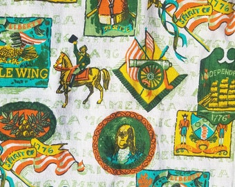Vintage Fabric - Colonial Americana Bicentennial Home Decorator Fabric, Tole, Early American, 3.3 yards, Drapery Fabric, Upholstery Fabric