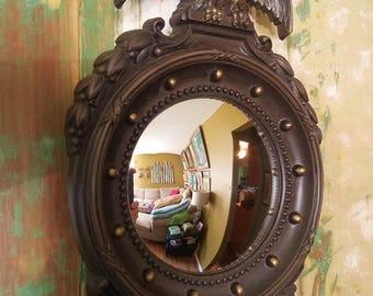 Mirror, Convex, Vintage, Eagle, Homco, Wall Mirror, Round, Porthole, Maritime, Nautical, Gold, Glass, Plastic, Cottage Chic, Wall Ha