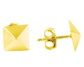 ON SALE Pyramid Stud Earrings In Gold Vermeil