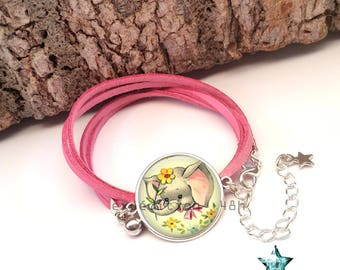 Bracelet suede wrap, pink elephant girl, girl, child, Bohemian, ethnic, toho, boho, native Americans, cabochon jewel