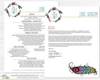 boho custom sorority recruitment packet digital printable or printed includes shipping - Sorority Resume